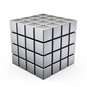 This picture is a simplified representation of the Benker grid. The cubes are about 10 meters high and wide and are spaced about 1 meter apart.