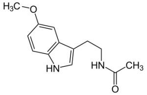 C13H16N2O2 Die chemische Struktur des Melatonin